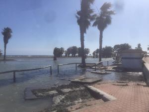 Daños en la playa de Poniente de Motril por un temporal en primavera.