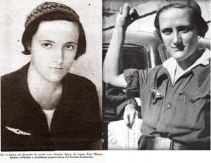 Dos de las últimas fotos de Lina hechas en el frente de Granada entre el 24 de julio y 14 de septiembre de 1936. Lucía el emblema de los aviadores huidos de la Base de Armilla.