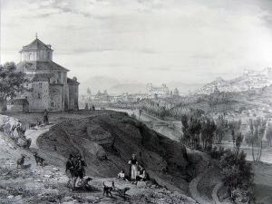 Ermita del Santo Sepulcro, en los Rebites. San Antón el Viejo estaba un poco por debajo. En el centro se ve el Puente Verde y las alamedas del Genil. Grabado de Chapuy, 1843.