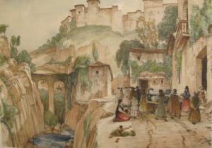 Aguafuerte de J. F. Lewis (1833), quien pintó un entierro de enfilando la Cuesta de los Muertos (de los Chinos) hacia el cementerio de las Barreras. A su derecha, el Carmen de Santa Engracia.