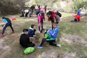 Los niños han plantado especies como el pino, retamas y encinas.
