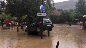 Uno de los coches arrastrados por el agua en Riofrío.