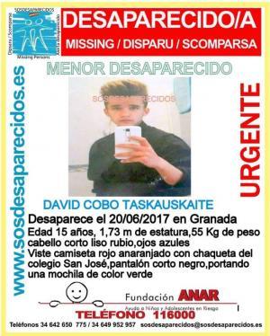 Mensaje que informa de la desaparición del menor.