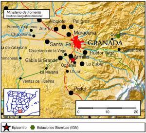Localización del terremoto en Ogíjares.