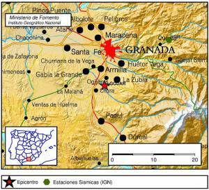 Mapa de localización del terremoto.