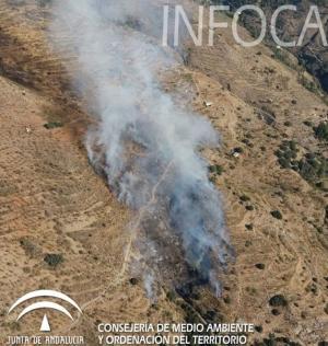 Imagen del fuego en Válor.