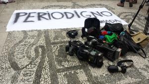 Imagen de un protesta de informadores en Granada.