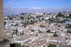 El Albaicín, desde la Alhambra.