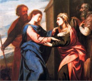 La Visitación de Santa Ana a la Virgen María. Este cuadro de Alonso Cano, hoy expuesto en el Museo Goya de Castres, fue robado en 1810 de Granada. Es muy parecido a la copia de la Catedral.