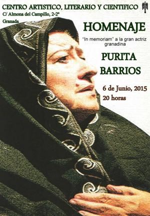 Cartel anunciador del homenaje a Purita Barrios.