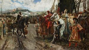Cuadro Rendición de Granada. Panorámica de la Rendición de Granada, cuyo original se expone en el Senado como obra más sobresaliente. Mide 5,42 x 3,52 metros. Fue pintado por Francisco Pradilla entre Granada y Roma (1879-82).