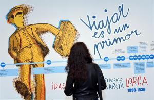 Uno de los paneles del programa en el Museo-Casa Natal del poeta.