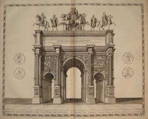 Grabado en cobre del arco de Septimio Severo. Una de las esculturas de arriba representaba al militar granadino.