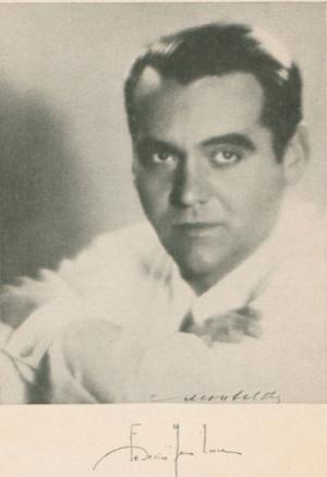 Imagen de Federico García Lorca en un ejemplar de Romancero Gitano.