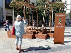 Una viandante toma una fotografía de la obra instalada en la Plaza del Carmen.
