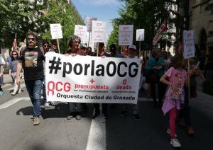 Músicos de la OCG en la manifestación del pasado 1 de mayo.