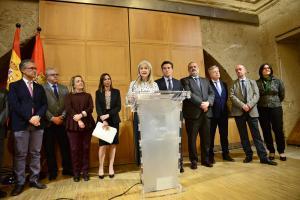 Patricia del Pozo, en su comparecencia esta tarde tras el pleno del Patronato de la Alhambra.