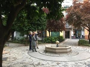Los concejales de Vox, en la plaza a la que quieren dar el nombre de Ignacio Belda.
