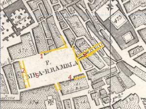 Rincón de los Vagos (1); Acera de los Valientes y Portalones (2); Hospital de San Sebastián (3); casa de los Miradores (4); y lugar donde estuvo la fuente del Leoncillo (5). En amarillo se esboza el realineamiento de Bibarrambla entre 1837 y 1885. Sobre el plano de Dalmáu de 1831.