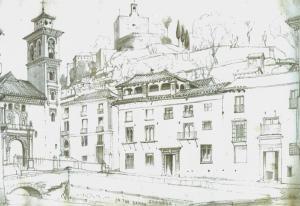 En este dibujo de Edward Cook (1861) ya no están sobre el río las cuatro casas junto al Puente De Santa Ana ni la Fuente las Ninfas. Los nuevos pretiles que enmarcaban el río tenían cinco pies de altos por dos de anchos, construidos en parte con los sillares del famoso pilar.