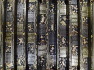 Alfarje de la Cuadra Dorada. W. H. Hearst no consiguió comprarlo y decidió hacer una copia exacta en escayola y oro para su castillo.