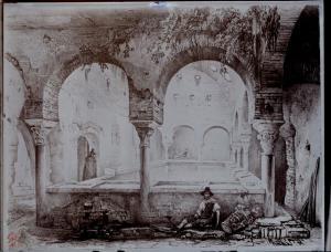Grabado de Girault de Prangey, que vio el lavadero  en el Bañuelo  (1837).
