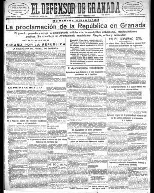 Portada de El Defensor de Granada, del 15 de abril de 1931.