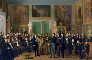 Los poetas contemporáneos (1846), de Antonio María de Esquivel. Ahí están quienes elevaron a categoría literaria y al DRAE la fealdad de Picio. Bretón de los Herreros es el tercero por la izquierda, sentado; Martínez de la Rosa, el sexto de la misma fila.