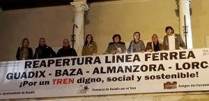 Pancarta en la gala empresarial celebrada en Guadix.