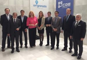 Representantes del empresariado granadino con los alcaldes de Baza, Granada y Motril.