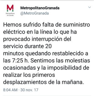 Mensaje difundido por el Metropolitano en su cuenta de twitter.