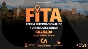 Cartel oficial de la 'I Feria Internacional de Turismo Accesible' (FITA) que organiza La Ciudad Accesible en colaboración con el Patronato Provincial de Turismo de Granada.