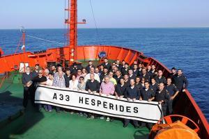 Los investigadores que participaron en la campaña INCRISIS de geología y geofísica marina llevada a cabo en el Hespérides en 2016.