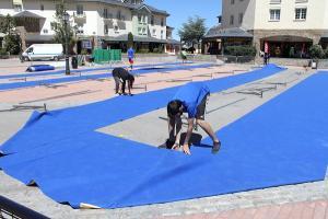 Preparativos en la Plaza de Andalucía.