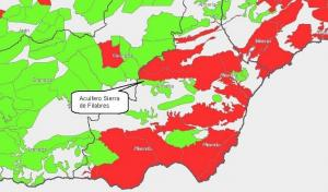 Ubicación de los pozos de emergencia para el Almanzora proyectados por la Junta. En rojo, los acuíferos en mal estado cuantitativo.