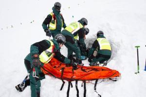 Imagen del simulacro tras avalancha desarrollado en Sierra Nevada.