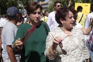 Teresa Jiménez en una de las manifestaciones contra el aislamiento ferroviario.