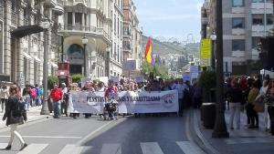 La manifestación enfila Reyes Católicos.
