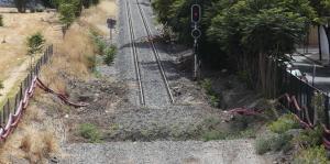 Detalle de las vías tras iniciarse las obras para la llegada del AVE.