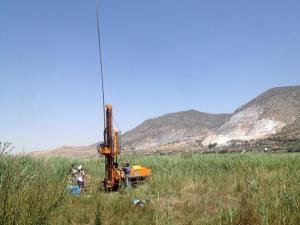 Campaña de sondeo en el margen de la Laguna de Padul (Julio de 2015).