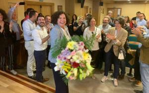 Pilar Aranda, este miércoles, tras su reelección.