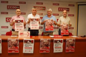 Los representantes de CCOO y UGT, este viernes en rueda de prensa.