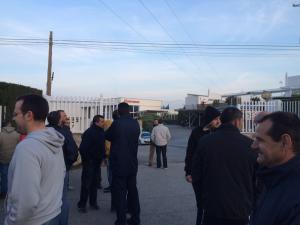 Trabajadores en huelga en Portinox, el pasado mes de abril.