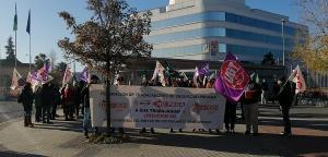Imagen de la protesta de los trabajadores el pasado martes.