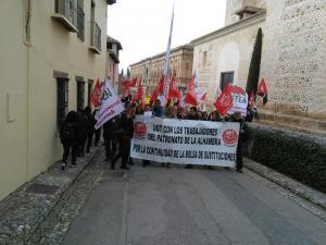 Manifestación celebrada esta mañana en la Alhambra.