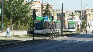 Dos trenes se cruzan en el entorno del Palacio de Deportes.