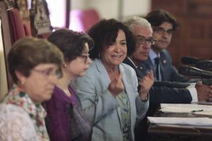 La rectora, Pilar Aranda, en la presentación de la iniciativa.