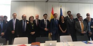 Representantes de instituciones y empresariado en la reunión celebrada este miércoles en Madrid.