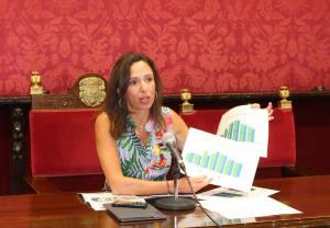 Rocío Díaz muestra datos de turismo.