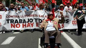 Cabecera de la manifestación de este Primero de Mayo en Granada.